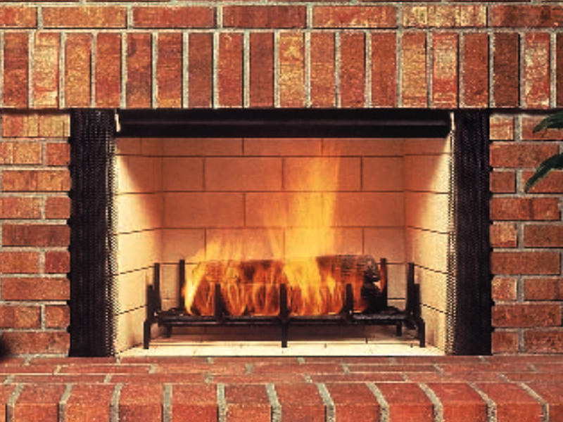 masonry wood burning fireplace