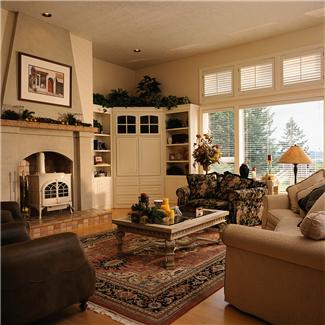 white wood burning stove in fireplace